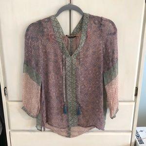 Gypsy05 Village Silk Blouse 3/4 Sleeve EUC